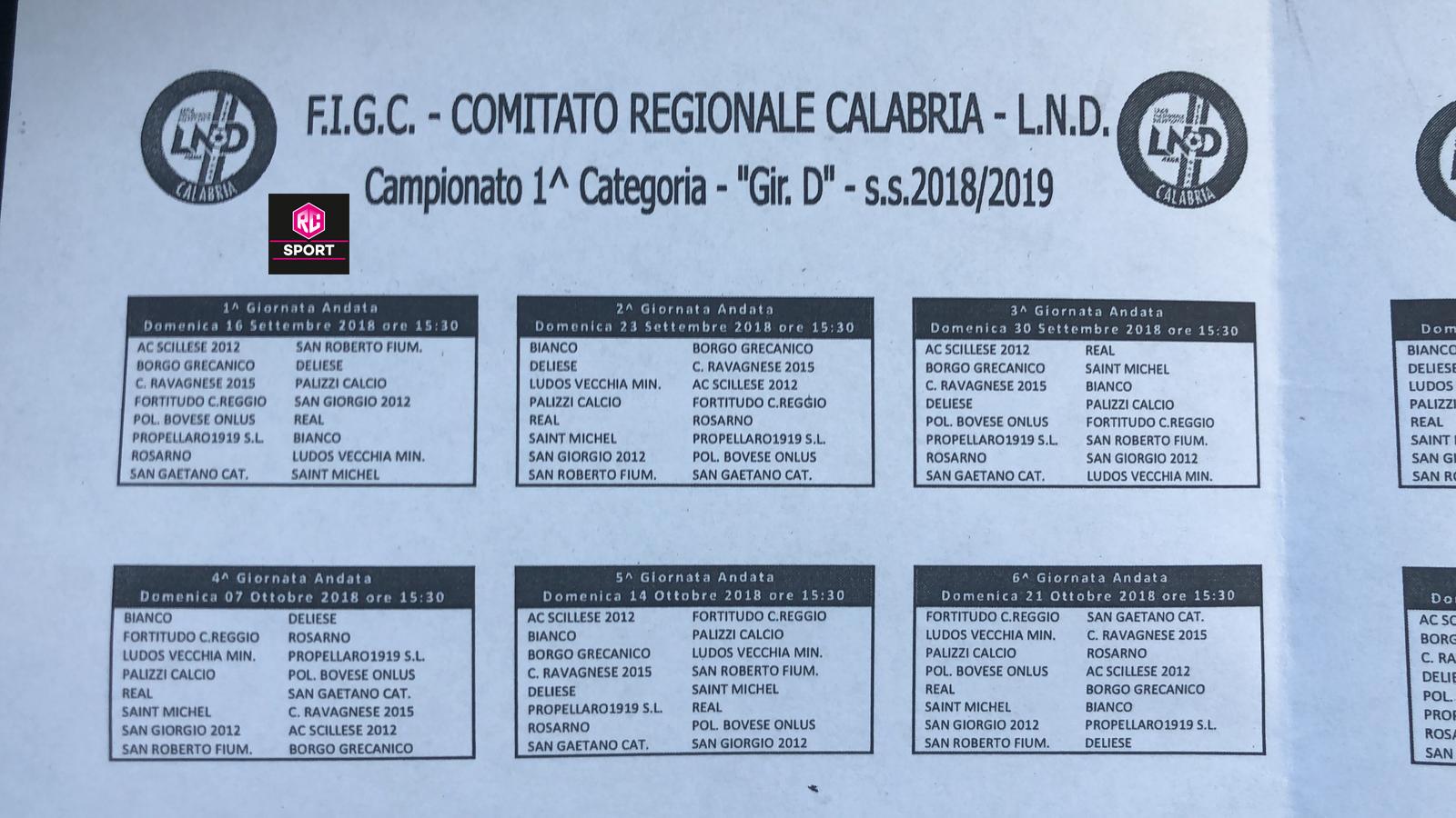 Fortitudo Calendario.Prima Categoria Gir D Il Calendario Della S S 2018 2019