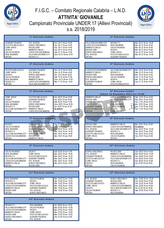 Calendario Giovanissimi Provinciali.Ecco Il Calendario 2018 2019 Degli Allievi Provinciali Rc