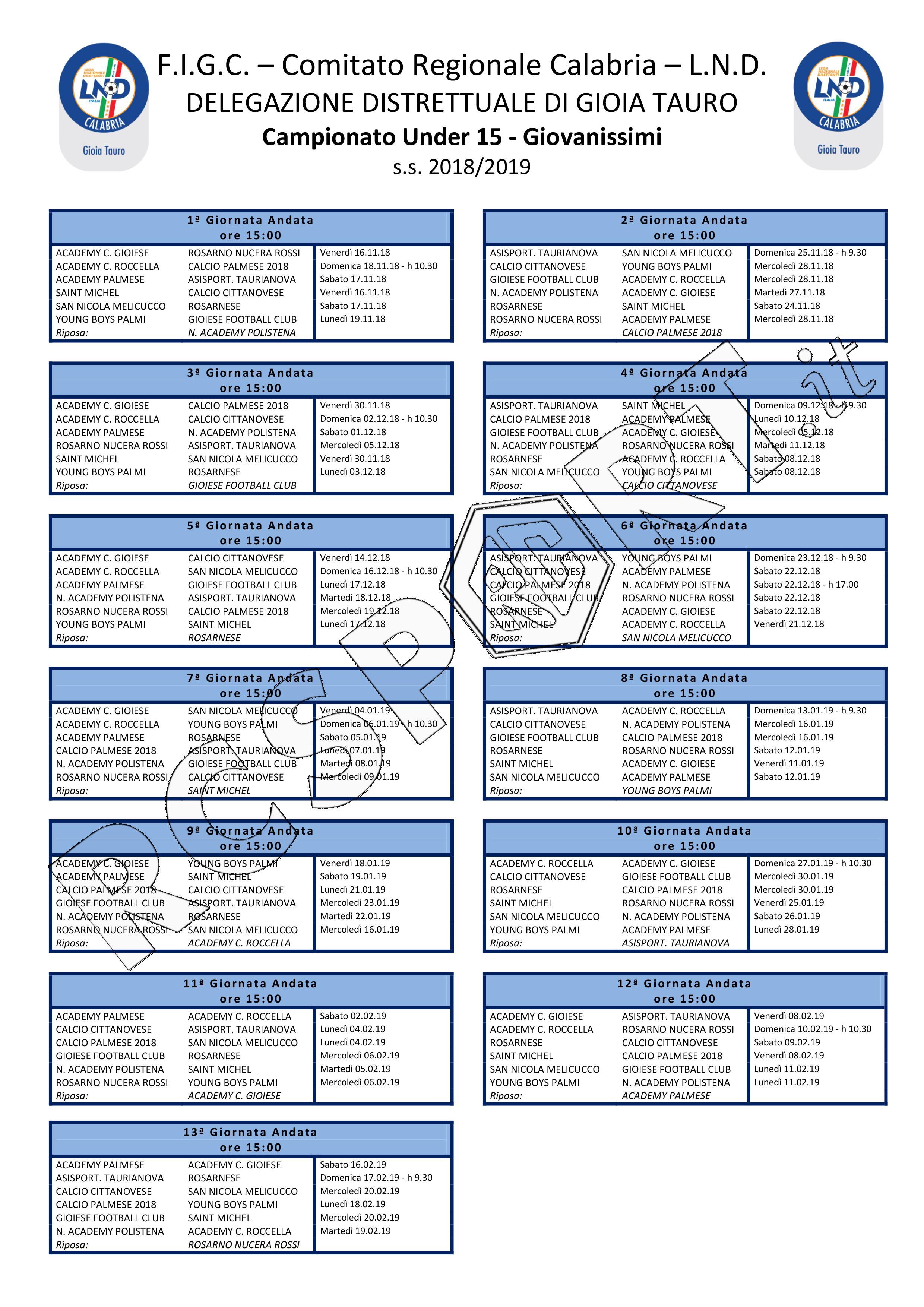 San Nicola Calendario.Under 15 Gioia Tauro Il Calendario Della S S 2018 2019