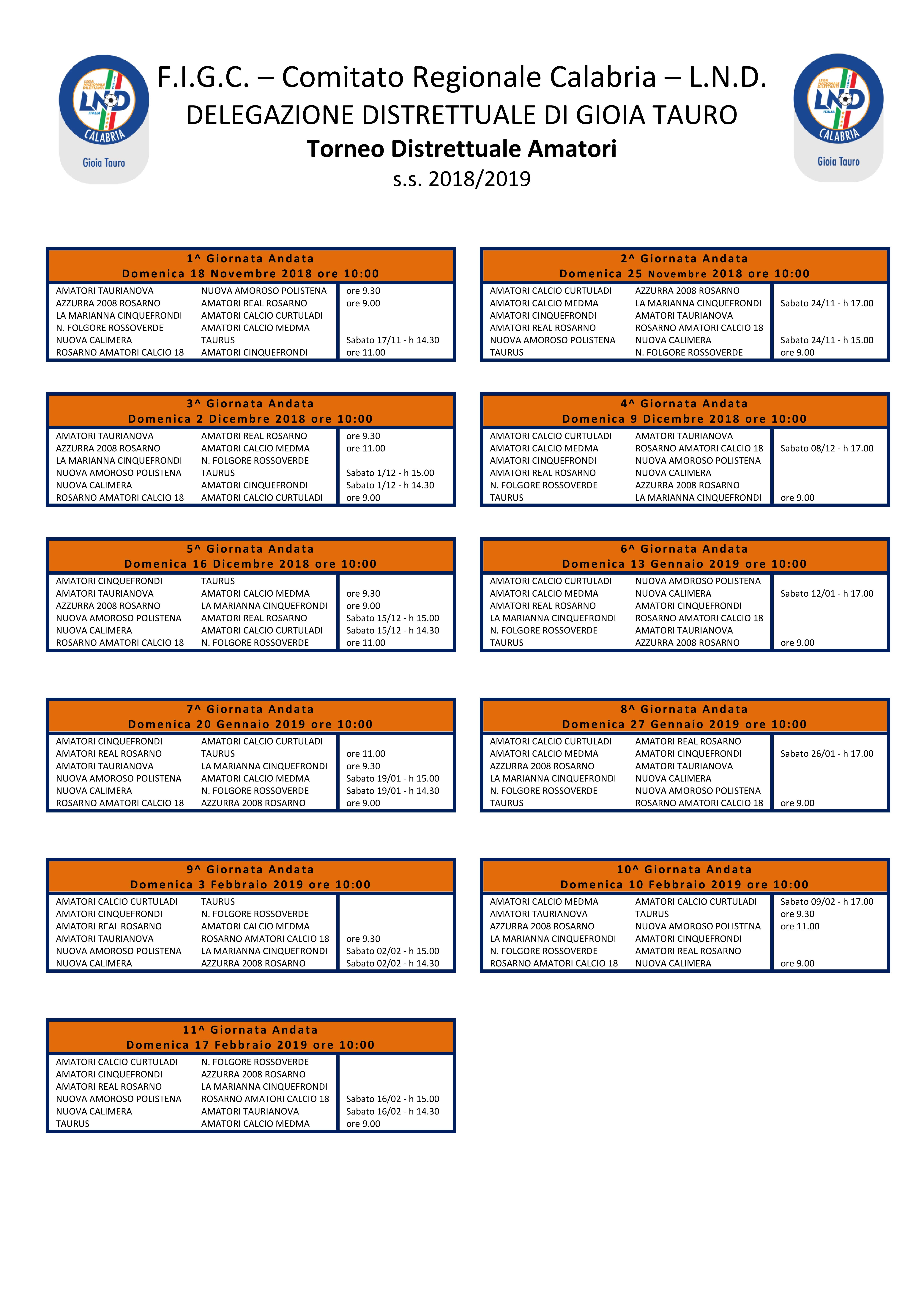 Calendario Torneo A 7 Squadre.Torneo Amatori Gioia Tauro Ecco Il Calendario 2018 2019