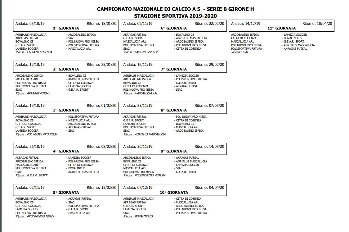Calendario Serie D Girone H.Calcio A 5 Ecco Il Calendario Della Serie B Rc Sport