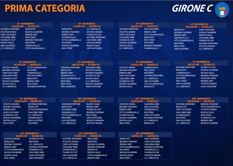 Calendario Seconda Categoria 2021 Prima Categoria Gir. C, ecco il calendario 2020/2021 | RC Sport